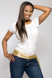 Young african-american girl in blue jeans.